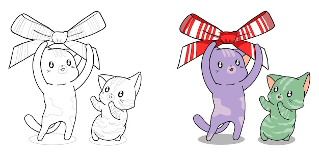 Cute cats with bow cartoon coloring page for kids