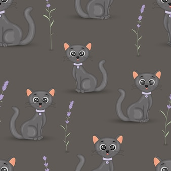 Cute cats with the collar colorful seamless pattern with lavender. cartoon vector wallpaper for fabric, notebooks, notebooks.