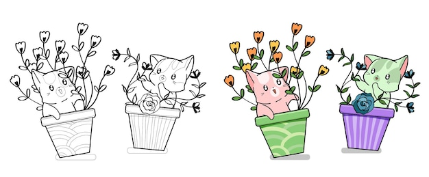 Cute cats with flowers cartoon coloring page for kids