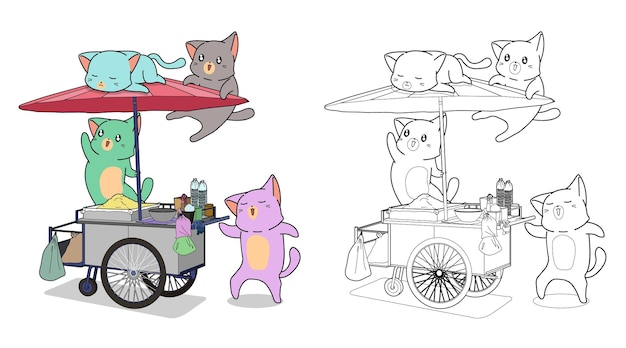 Cute cats with food portable stall cartoon coloring page