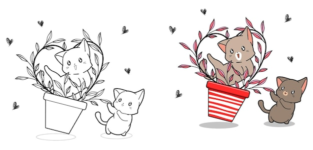 Cute cats with heart vine inside vase cartoon coloring page