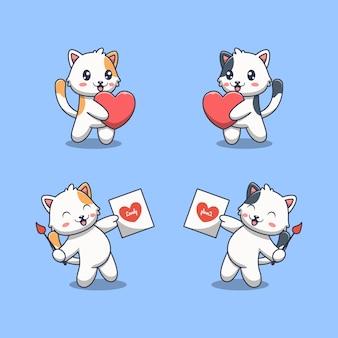 愛のイラストとかわいい猫