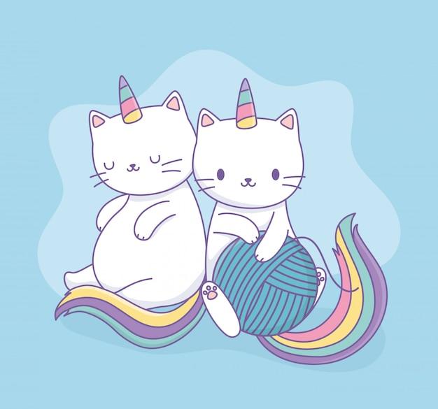 무지개 꼬리와 양모 공 귀엽다 캐릭터가있는 귀여운 고양이 프리미엄 벡터