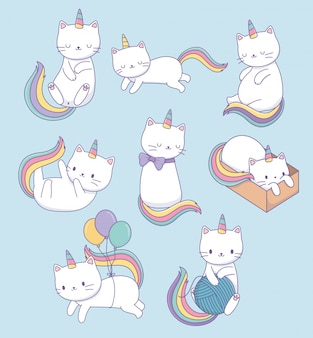 Cute cats with rainbow tails kawaii characters