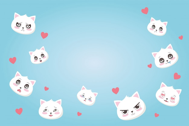 Cute cats with various emotions hearts love cartoon faces animals