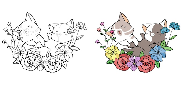Cute cats with wreath cartoon coloring page