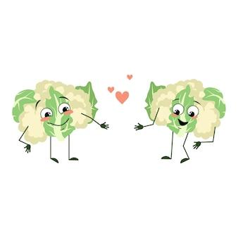 Симпатичные персонажи из цветной капусты с любовными эмоциями улыбаются, руки и ноги веселые или счастливые зеленые фу ...