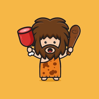 Cute caveman holding meat and clubwooden cudgel cartoon icon illustration. design isolated flat cartoon style