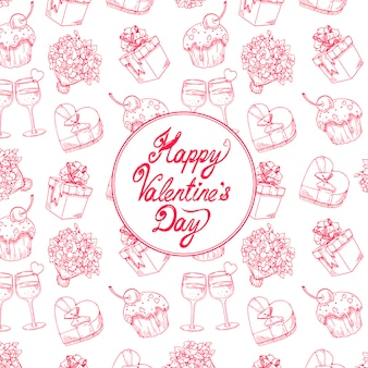 Cute celebratory background for valentine's day with a bouquet of roses, champagne glasses and gifts