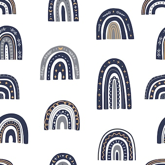 귀여운 천체 무지개 원활한 패턴