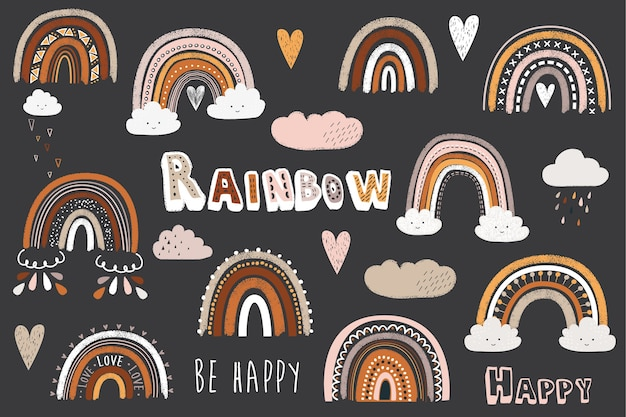 Cute chalkboard doodle boho rainbow elements