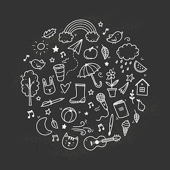 Симпатичные каракули на доске с облаком, радугой, солнцем, животным элементом. рисованной линии детский стиль. каракули фон векторные иллюстрации.