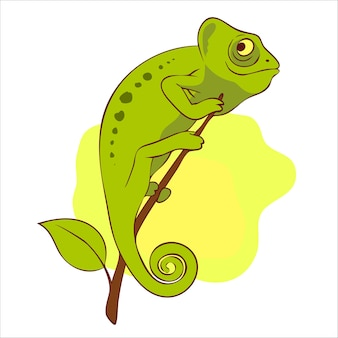 Cute chameleon on the branch illustration