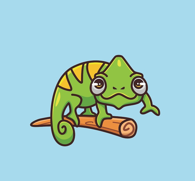 Cute chameleon camouflage on branch. cartoon animal nature concept isolated illustration. flat style suitable for sticker icon design premium logo vector. mascot character