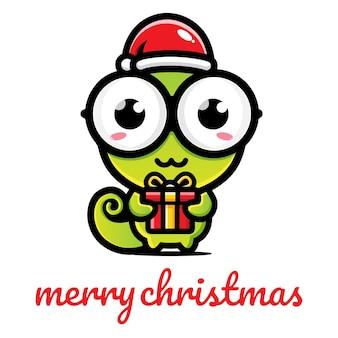 크리스마스를 축하하는 귀여운 카멜레온
