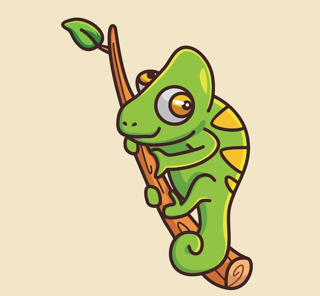 Cute chameleon hug a branch cartoon animal nature concept isolated illustration flat style suitable