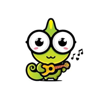 A cute chameleon playing the ukulele