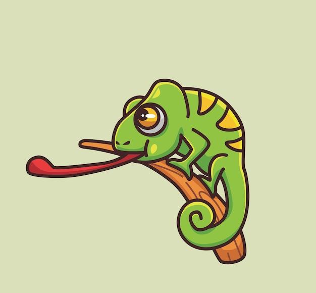 긴 혀를 보여주는 귀여운 카멜레온. 만화 동물 자연 개념 격리 된 그림입니다. 스티커 아이콘 디자인 프리미엄 로고 벡터에 적합한 플랫 스타일. 마스코트 캐릭터