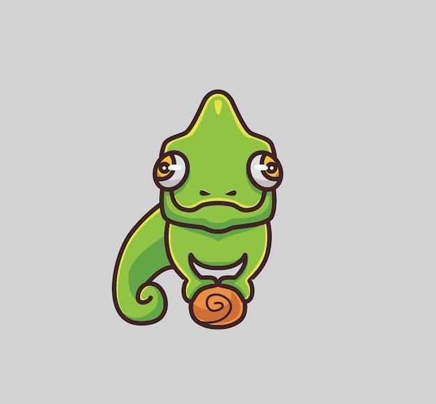 귀여운 카멜레온은 지점에 있습니다. 만화 동물 자연 개념 격리 된 그림입니다. 스티커 아이콘 디자인 프리미엄 로고 벡터에 적합한 플랫 스타일. 마스코트 캐릭터