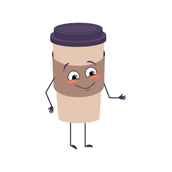 귀여운 캐릭터는 기쁨의 감정, 웃는 얼굴, 행복한 눈, 팔, 다리가 있는 커피 한 잔. 카페를 위한 장난꾸러기 종이접시. 벡터 평면 그림