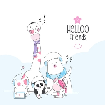 Cute character animal cartoon  sketch style