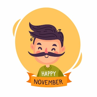 Cute character avatar for movember event