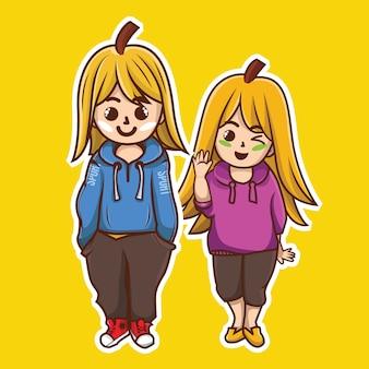 かわいいキャラクター(バナナの男の子、女の子)