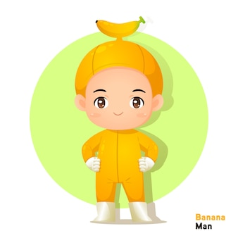 Cute character banana man vecter for illustration
