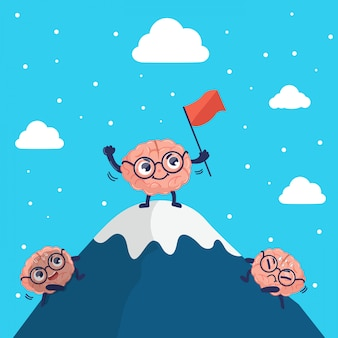 Cute character brain climbs to the top of the mountain.