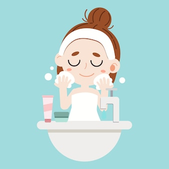A cute character cartoon girl washing face on blue background.