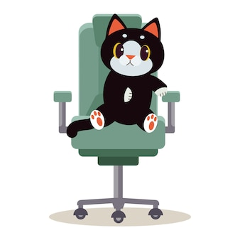A cute character cat sitting on the chair and it look confuse.