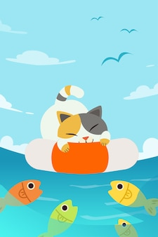 A cute character cat sleeping on life ring in the sea background.