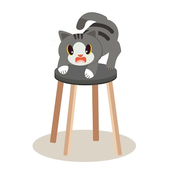A cute character cat standing on the tall chair and it look scary