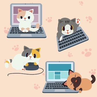 Cute character cat with computer or laptop
