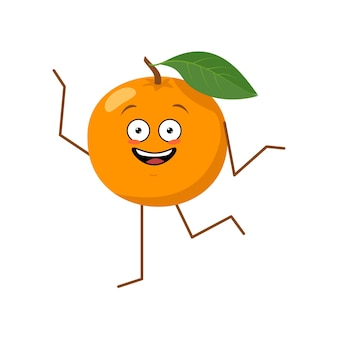 Cute character cheerful orange with emotions dancing funny or sad hero