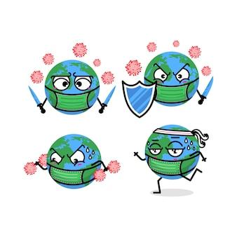 Симпатичные персонаж корона вирус иллюстрации