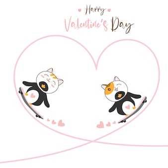 Cute character design couple love of penguin cat with skateboard for happy valentine's day.