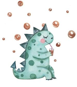 귀여운 캐릭터 공룡 손으로 거품과 수채화로 그린.