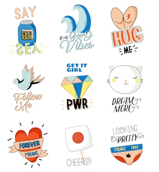 Cute character doodles for patches and stickers - creative set with trendy quotes and cool stylized elements. feminism girl power quote. cartoon style illustration in .