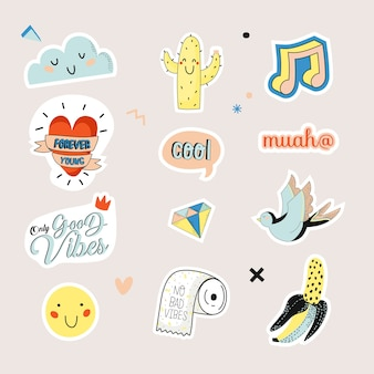 Cute character doodles for patches and stickers - creative set with trendy quotes and cool stylized