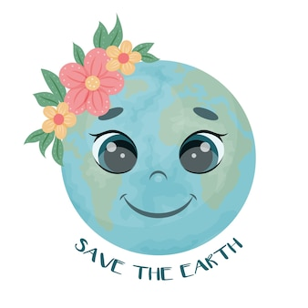Cute character. the earth with flowers is smiling. save the earth. vector illustration. cartoon style. isolated on white.