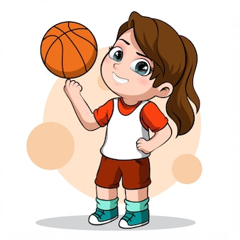 Cute character of a female basketball player