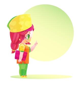 明るい制服を着たかわいいキャラクターの女医が話します。マンガやアニメのスタイルで描く。明るい色の幼稚な漫画のスタイル