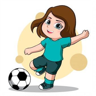 Cute character of a female soccer player