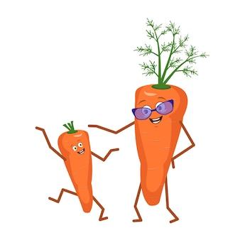 かわいいキャラクターおかしい祖母と孫ニンジンは白い背景で隔離。面白いまたは悲しいヒーロー、眼鏡をかけた明るい果物と野菜。ベクトルフラットイラスト