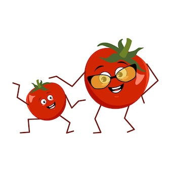 Cute character funny grandmother and grandson tomato isolated on white background. the funny or sad hero, red fruit and vegetable. vector flat illustration