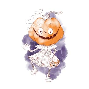 Cute character girl pumpkin scarecrow watercolor illustration