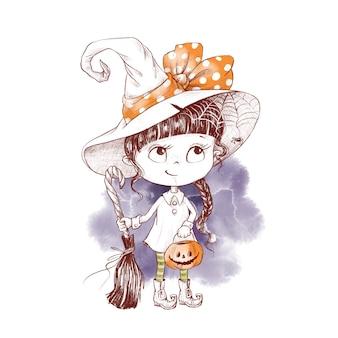 ハロウィンのかわいいキャラクターの女の子魔女水彩イラスト