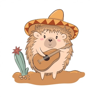 Cute character hedgehog in a hat plays the guitar isolate on a white background.