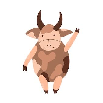 Cute character horned bull symbol of 2021, vector illustration